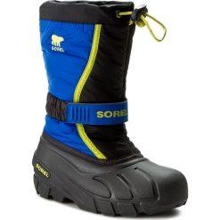 Buty zimowe chłopięce: Śniegowce SOREL – Youth Flurry NY1885 Black/Super Blue 014