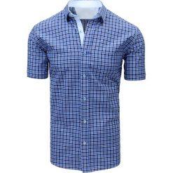 Koszule męskie na spinki: Niebiesko-granatowa koszula męska w kratę (kx0827)