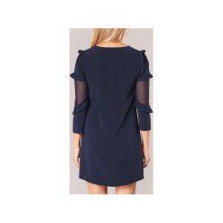 Sukienki krótkie Morgan  ROFLOR. Niebieskie sukienki hiszpanki Morgan, z krótkim rękawem, mini. Za 231,20 zł.