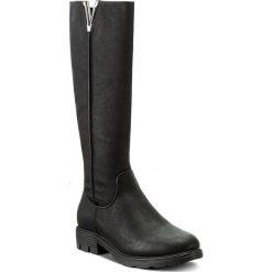 Oficerki JENNY FAIRY - WS17375-22 Czarny. Czarne buty zimowe damskie Jenny Fairy, ze skóry ekologicznej, przed kolano, na wysokim obcasie, na obcasie. Za 149,99 zł.