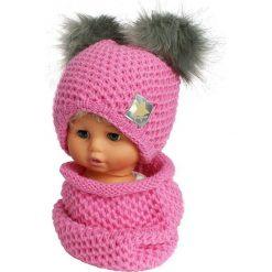 Czapka dziecięca z kominkiem CZ+K 173H szaro-różowa r. 48-50. Czerwone czapeczki niemowlęce Proman. Za 62,96 zł.