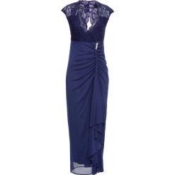 Długie sukienki: Długa sukienka z dżerseju z koronką bonprix kobaltowy