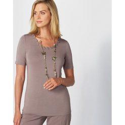 T-shirty damskie: Gładki T-shirt z okrągłym dekoltem i krótkim rękawem