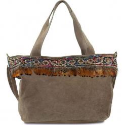 """Skórzany shopper bag """"Nadia"""" w kolorze szarobrązowym - 45 x 28 x 17 cm. Brązowe shopper bag damskie Spécial maroquinerie, w paski, z materiału. W wyprzedaży za 172,95 zł."""