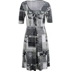 Sukienki: Sukienka, krótki rękaw bonprix czarno-biały wzorzysty