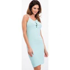 Miętowa sukienka z wiązaniem na dekolcie 3550. Zielone sukienki Fasardi, l. Za 39,00 zł.