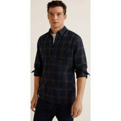 Mango Man - Koszula Ramses. Czarne koszule męskie na spinki Mango Man, l, w kratkę, z bawełny, button down, z długim rękawem. Za 139,90 zł.