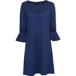Sukienka z dżerseju z koronką bonprix kobaltowy. Niebieskie sukienki koronkowe bonprix, w koronkowe wzory. Za 59,99 zł.