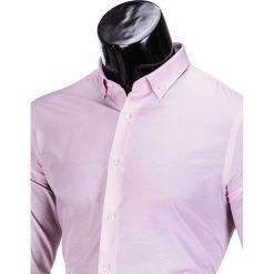 KOSZULA MĘSKA ELEGANCKA Z DŁUGIM RĘKAWEM K350 - RÓŻOWA. Brązowe koszule męskie marki Ombre Clothing, m, z aplikacjami, z kontrastowym kołnierzykiem, z długim rękawem. Za 49,00 zł.