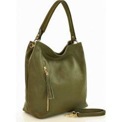 Torebka skórzana MARCO MAZZINI - zieleń olive. Zielone torebki klasyczne damskie MAZZINI, w paski. Za 289,00 zł.