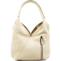 Torebki klasyczne damskie: Skórzana torebka w kolorze beżowym – (S)38 x (W)38 x (G)19 cm