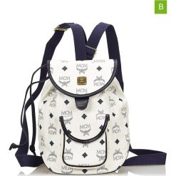 Plecaki damskie: Skórzany plecak w kolorze białym – 21,5 x 20 x 15 cm