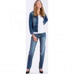 """Dżinsy """"Rose"""" - Regular fit - w kolorze niebieskim. Niebieskie spodnie z wysokim stanem marki Cross Jeans, z aplikacjami. W wyprzedaży za 136,95 zł."""