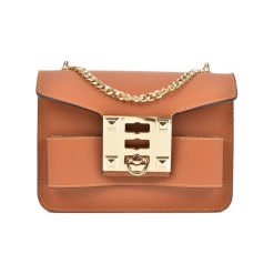 Torebka w kolorze koniaku - (S)19,5 x (W)14 x (G)7 cm. Brązowe torebki klasyczne damskie Bestsellers bags, w paski, z materiału. W wyprzedaży za 199,95 zł.