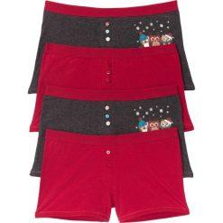 Bokserki damskie: Bokserki damskie (4 pary) bonprix ciemnoczerwono-antracytowy melanż z nadrukiem