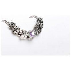 Biżuteria i zegarki damskie: Srebrno-Fioletowa Bransoletka Harmony