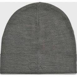 Calvin Klein - Czapka. Szare czapki zimowe męskie Calvin Klein, z dzianiny. Za 159,90 zł.