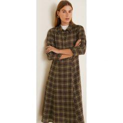 Mango - Sukienka Ingrid23. Brązowe długie sukienki marki Mango, na co dzień, l, z materiału, casualowe, z długim rękawem, rozkloszowane. Za 229,90 zł.