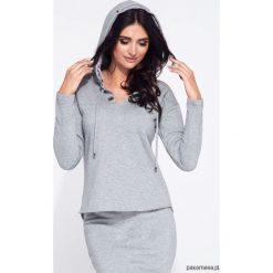 Szara bluza damska z metalowymi ringami hoodie. Niebieskie bluzy z kapturem damskie marki Pakamera, z bawełny. Za 129,00 zł.