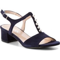 Sandały damskie: Sandały SAGAN - 3228 Granatowy Welur
