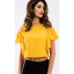 Bluzki damskie: Miodowa bluzka z motylkowym rękawem 20373