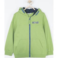Bluza. Zielone bluzy chłopięce rozpinane DINOSAUR, z aplikacjami, z bawełny, z długim rękawem, długie, z kapturem. Za 79,90 zł.