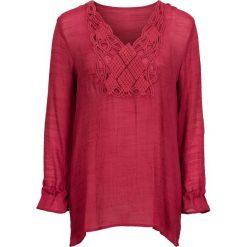 Długa bluzka bonprix ciemnoczerwony. Czerwone bluzki asymetryczne bonprix, z aplikacjami, z długim rękawem. Za 109,99 zł.