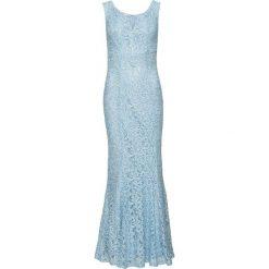 Sukienka koronkowa bonprix jasnoniebieski. Niebieskie sukienki koronkowe marki bonprix, z nadrukiem, na ramiączkach. Za 199,99 zł.