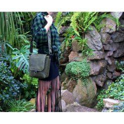 Torebki klasyczne damskie: Safari zieleń+czerń