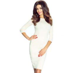 Sukienki: Jasno Beżowa Sukienka Ołówkowa z Dekoltem na Plecach