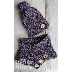 Jagodowy otulacz - czapka + komin. Fioletowe czapki zimowe damskie Pakamera. Za 129,00 zł.