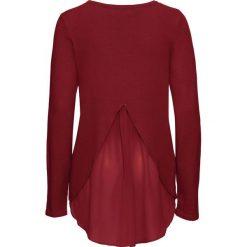Sweter z szyfonową wstawką bonprix czerwony kasztanowy. Czerwone swetry klasyczne damskie bonprix, z szyfonu. Za 89,99 zł.