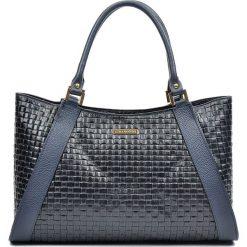 Torebki klasyczne damskie: Skórzana torebka w kolorze czarnym – 42 x 28 x 10 cm