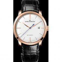 ZEGAREK GIRARD PERREGAUX 1966 AUTOMATIC 38 MM 49525-52-131-BK6A. Białe zegarki męskie GIRARD-PERREGAUX, szklane. Za 68390,00 zł.