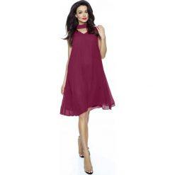 Sukienki: Bordowa Trapezowa Sukienka Koktajlowa z Chokerem