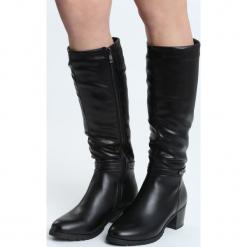 Czarne Kozaki Never Fiction. Czarne buty zimowe damskie marki Kazar, ze skóry, na wysokim obcasie. Za 189,99 zł.