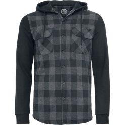 RED by EMP Hooded Checked Flanell Sweat Sleeve Shirt Koszula czarny/szary. Czerwone koszule męskie na spinki marki Cropp, l, z kapturem. Za 164,90 zł.