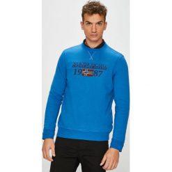 Napapijri - Bluza. Niebieskie bluzy męskie rozpinane marki Napapijri, l, z nadrukiem, z bawełny, bez kaptura. W wyprzedaży za 329,90 zł.