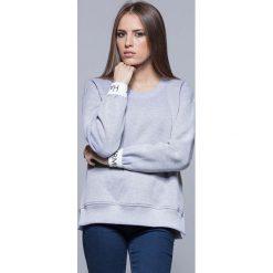 Bluzy damskie: Szara Nierozpinana Bluza Dresowa z Ozdobną Gumką na Rękawach