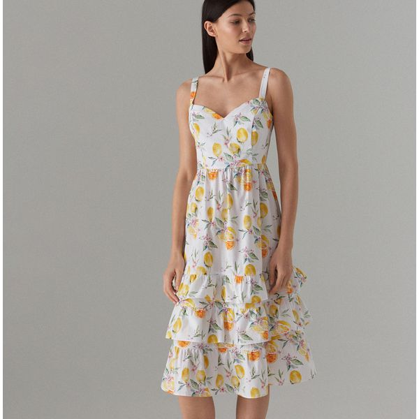337feeb195 Bawełniana sukienka z falbanami - Biały - Białe sukienki damskie ...