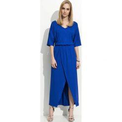Chabrowa Maxi Sukienka z Zakładanym Dołem. Niebieskie długie sukienki marki Molly.pl, na co dzień, l, w jednolite wzory, z jersey, eleganckie, dekolt w kształcie v, dopasowane. Za 99,90 zł.
