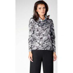 Kwiatowa Klasyczna Dzianinowa Bluzka z Luźnym Golfem. Szare bluzki longsleeves marki Molly.pl, l, z dzianiny, biznesowe, z golfem. W wyprzedaży za 92,91 zł.