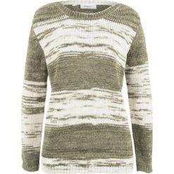 Sweter bonprix ciemnooliwkowy wzorzysty. Zielone swetry klasyczne damskie bonprix. Za 74,99 zł.