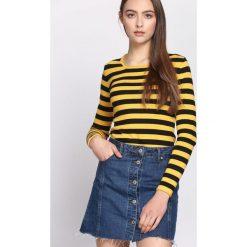 Czarno-Żółty Sweter Business Trip. Czarne swetry klasyczne damskie Born2be, l, z okrągłym kołnierzem. Za 44,99 zł.