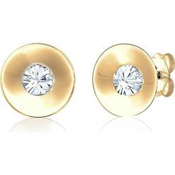 Pozłacane kolczyki-wkrętki z kryształkami Swarovski. Żółte kolczyki damskie Julie & Grace, z kryształem, pozłacane. W wyprzedaży za 77,95 zł.