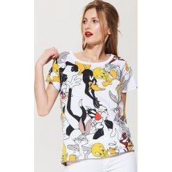 T-shirty damskie: T-shirt z nadrukiem looney tunes – Biały