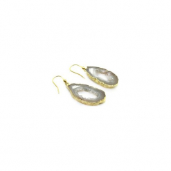 Kolczyki Plastry Geody Agatu Beżowe złoto. Szare kolczyki damskie Brazi druse jewelry, z agatem, złote. Za 170,00 zł.
