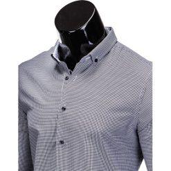 KOSZULA MĘSKA ELEGANCKA Z DŁUGIM RĘKAWEM K358 - CZARNA. Brązowe koszule męskie na spinki marki Ombre Clothing, m, z aplikacjami, z kontrastowym kołnierzykiem, z długim rękawem. Za 49,00 zł.
