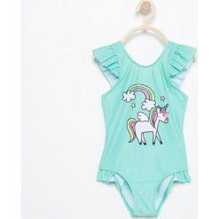 Stroje jednoczęściowe dziewczęce: Jednoczęściowy strój kąpielowy z jednorożcem – Turkusowy