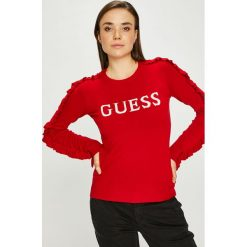 Guess Jeans - Sweter. Czerwone swetry klasyczne damskie Guess Jeans, m, z dzianiny, z okrągłym kołnierzem. Za 319,90 zł.